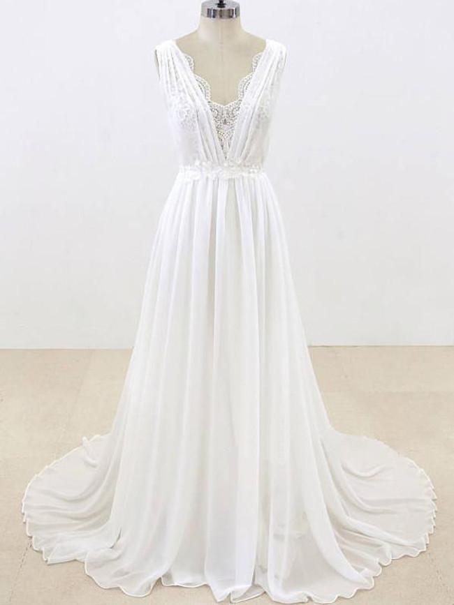 Romantic Wedding Dresses,Beach Chiffon Wedding Dress,11294