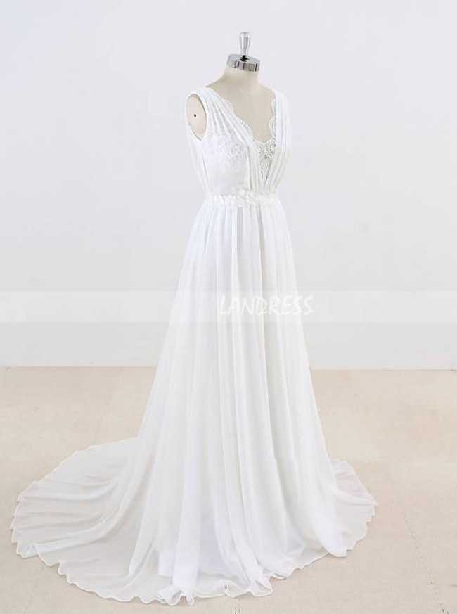 Romantic Wedding Dresses,Beach Chiffon Wedding Dress,11294