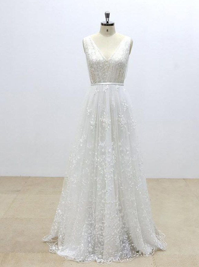 Lace Wedding Dresses,Full Length Bridal Dress,A-line Wedding Dress,11297