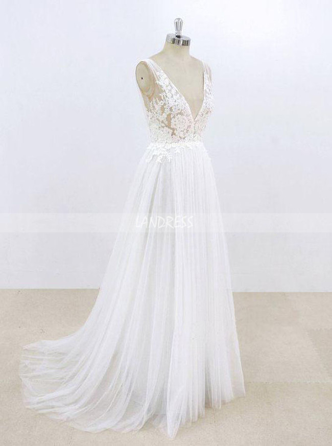 White Tulle Wedding Dresses,V-neck Wedding Dress,A-line Bridal Dress,11298