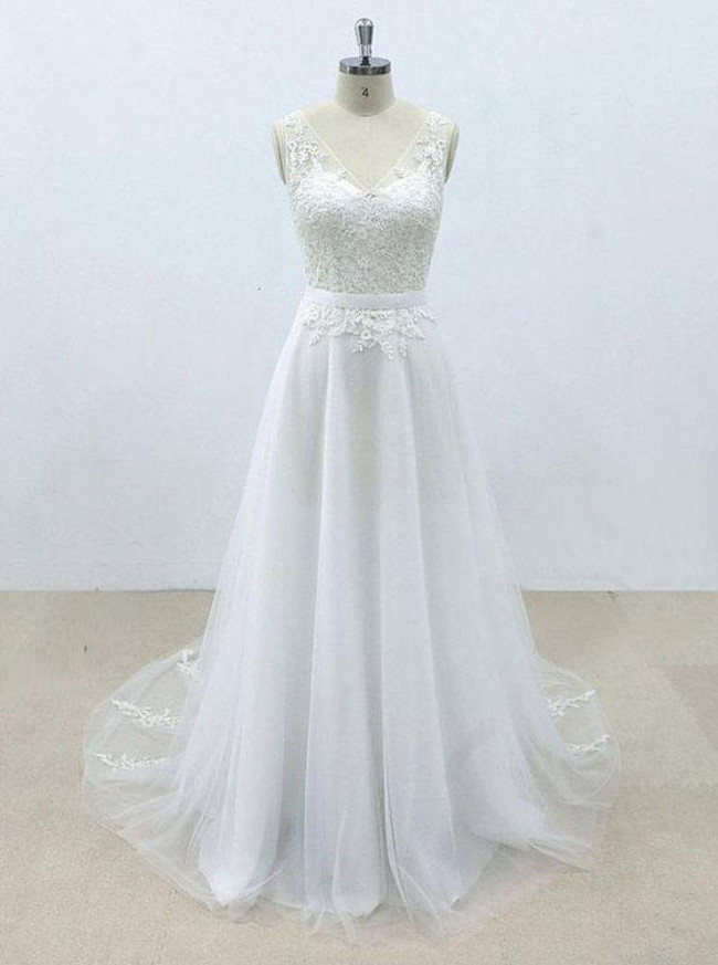 White Wedding Dresses,Wedding Dress with Belt,A-line Bridal Dress,11299