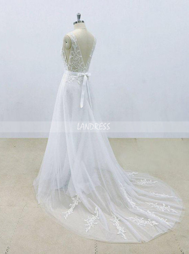 White Wedding Dresses,Wedding Dress with Belt,A-line Bridal Dress,11299