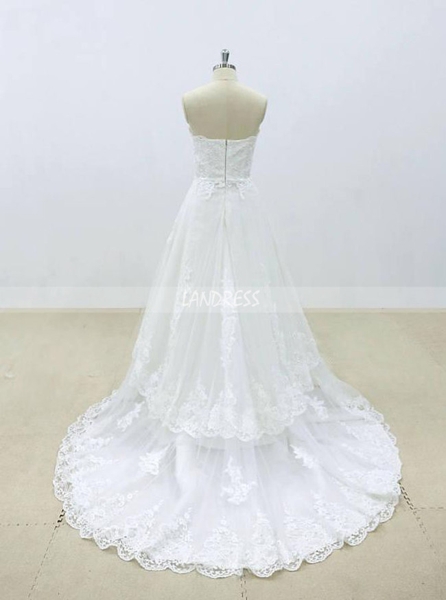 A-line Wedding Dresses,Strapless Bridal Dresses,Lace Wedding Dress,11300