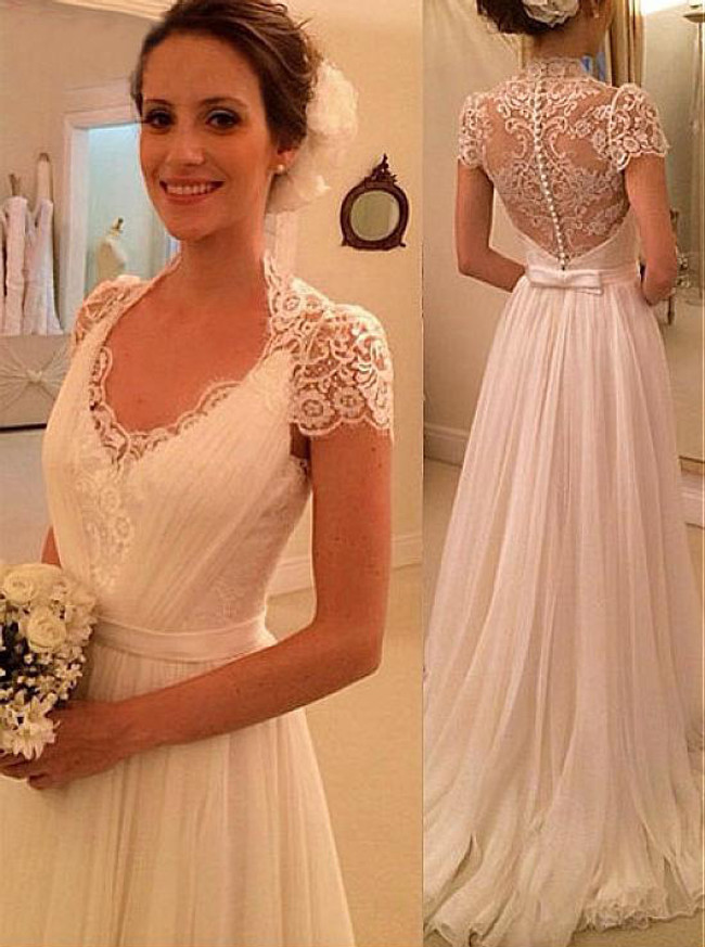 Chiffon Beach Wedding Dresses,Elegant Bridal Dress with Short Sleeves,11301