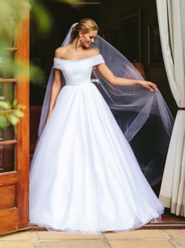 Off the Shoulder Wedding Dresses,Modest Bridal Dress,Tulle Wedding Dress,11302