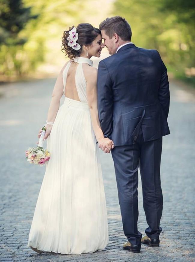 High Neck Wedding Dresses,Pleated Wedding Dress,Cutout Back Wedding Dress,11304