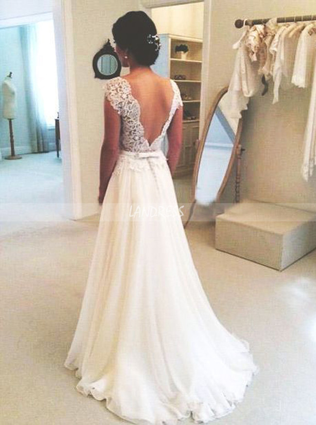Gorgeous Wedding Dresses,Chiffon Wedding Dress with Low Back,11306