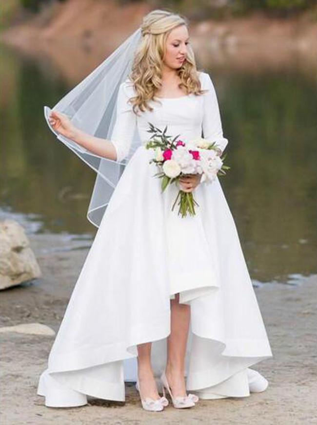 Wedding Dress With Sleeves.White High Low Wedding Dresses With Sleeves Vintage Wedding Dress 11307