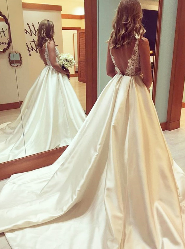A-line Satin Wedding Dresses,Modest Bridal Dress,11308