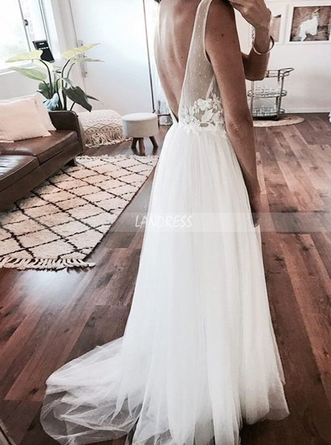 Illusion Wedding Dresses,White Tulle Wedding Dress,Open Back Wedding Dress,11309