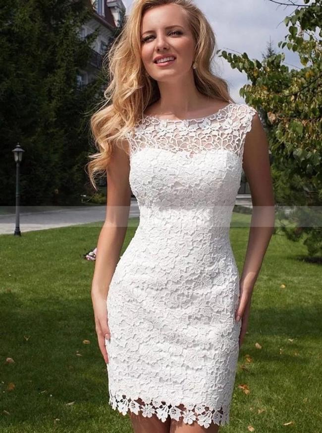 Lace Short Wedding Dress with Detachable Tulle Skirt,Full Length Beach Wedding Dress,11310