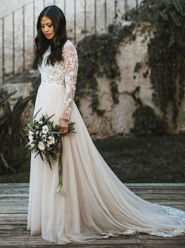 Boho Wedding Dresses with Long Sleeves,Tulle Wedding Dress,11311