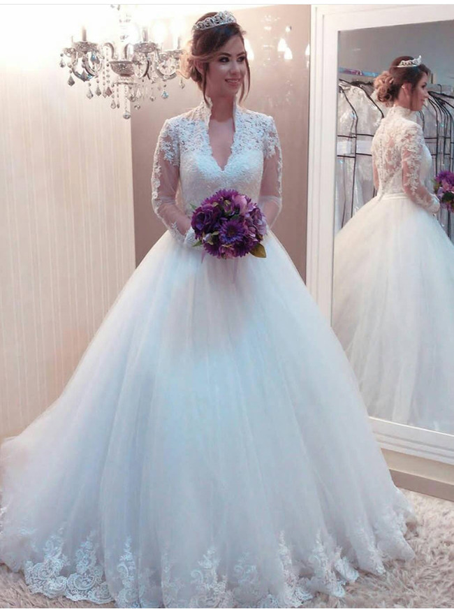 Princess Wedding Gown with Long Sleeves,High Neck Bridal Gown,11312