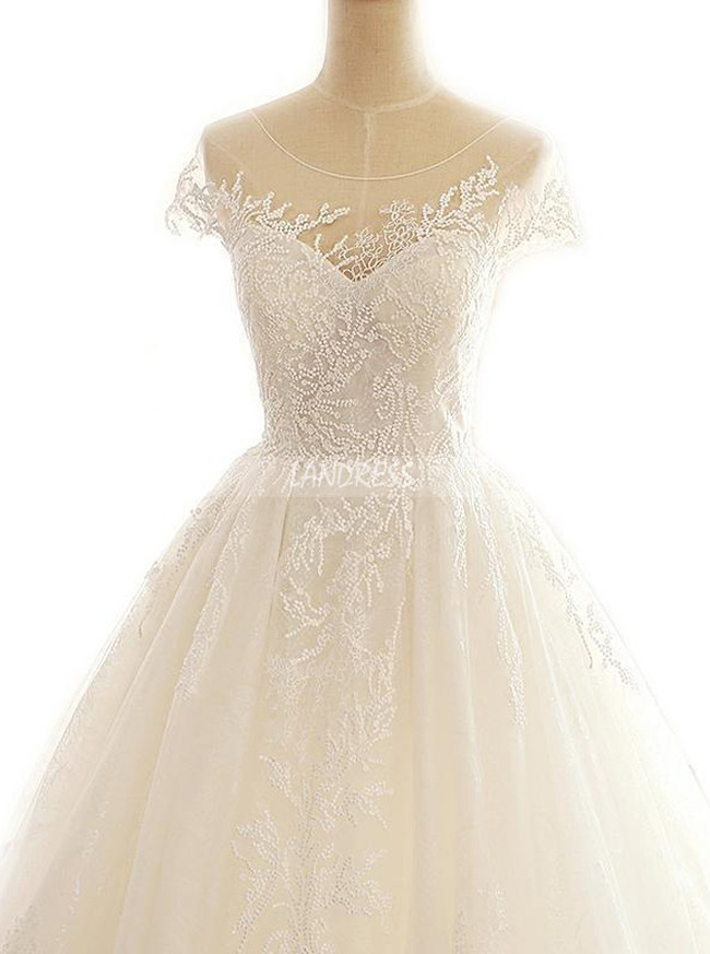 Lace Classic Wedding Gown,Cap Sleeves Bridal Gown with Train,11313
