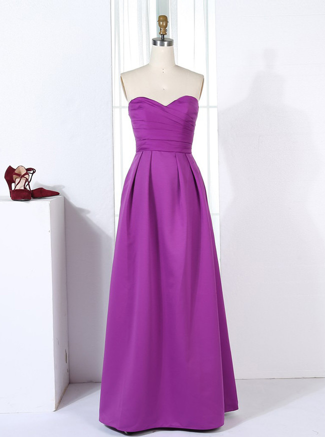Strapless Bridesmaid Dresses,Satin Floor Length Bridesmaid Dress,11317