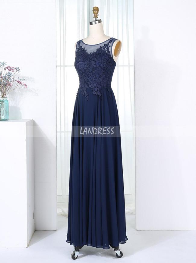 Dark Navy Bridesmaid Dresses,Chiffon Long Bridesmaid Dress,11318