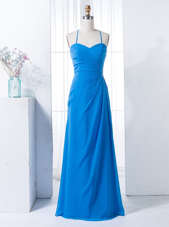 Blue Bridesmaid Dresses with Spaghetti Straps,Lace Up Bridesmaid Dress,00322