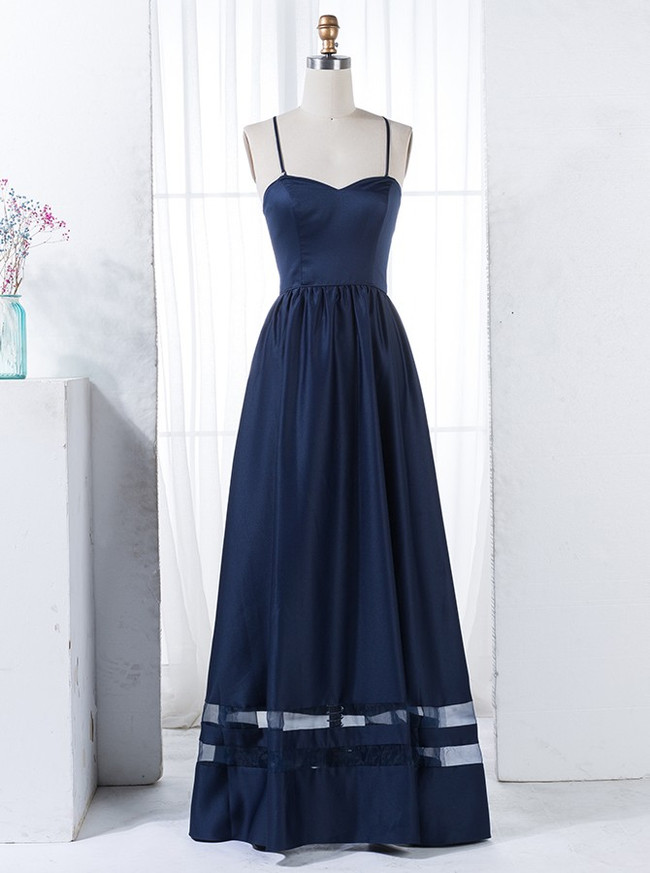 Dark Navy Bridesmaid Dresses with Spaghetti Straps,Satin A-line Bridesmaid Dress,11323