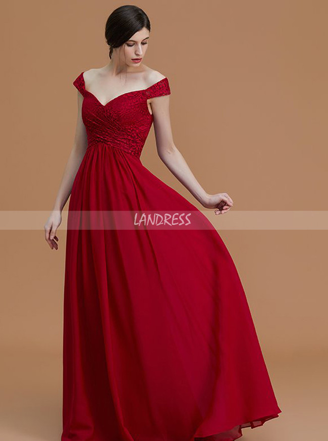 Off the Shoulder Bridesmaid Dresses,Empire Waist Bridesmaid Dress,11325