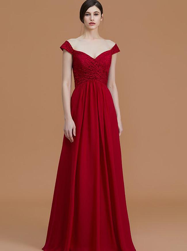 Off the Shoulder Bridesmaid Dresses,Empire Waist Bridesmaid Dress,11325