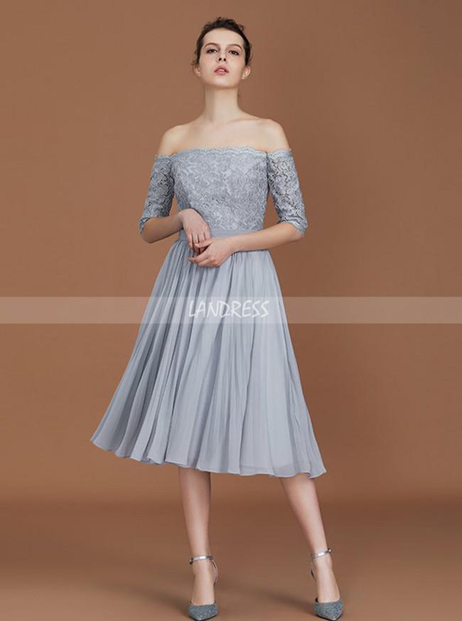 Silver Bridesmaid Dresses with Sleeves,Short Bridesmaid Dresses,11327