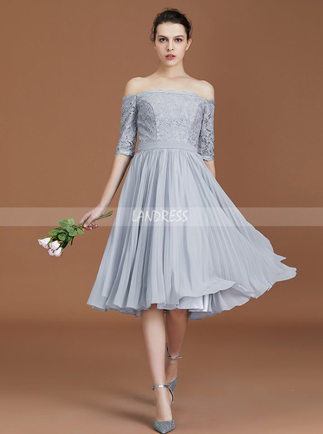 Silver Bridesmaid Dresses Long Sleeve