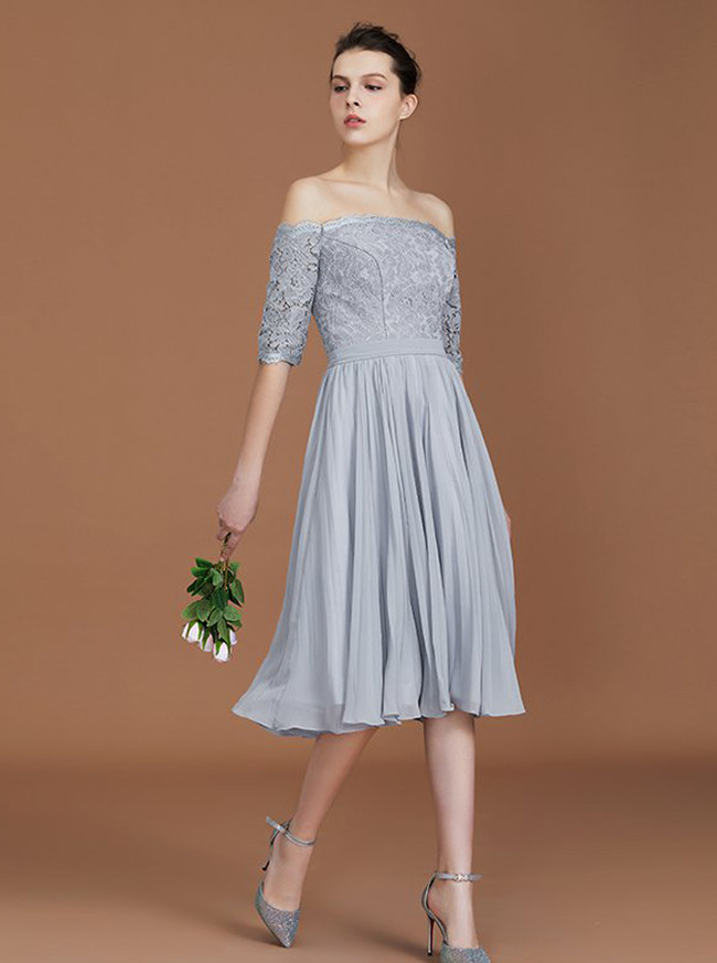 Silver Bridesmaid Dresses with Sleeves,Short Bridesmaid Dresses,11327
