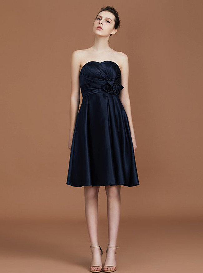Black Bridesmaid Dresses,Knee Length Bridesmaid Dress,Satin Bridesmaid Dress,11328