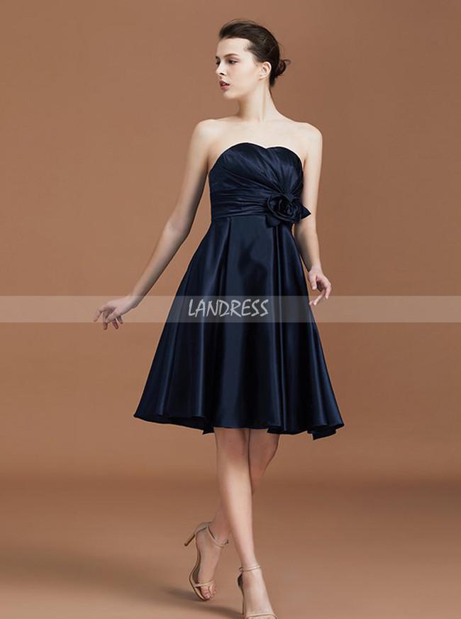 Black Bridesmaid Dresses Knee Length Bridesmaid Dress Satin Bridesmaid Dress 11328 Landress Co Uk