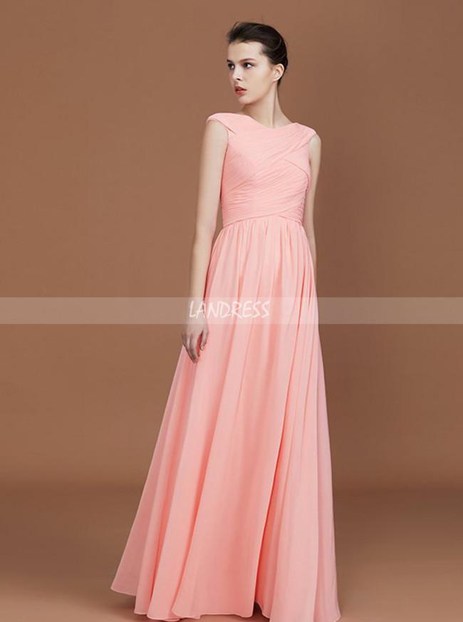 Peach Bridesmaid Dresses,Ruched Chiffon Bridesmaid Dress,11329