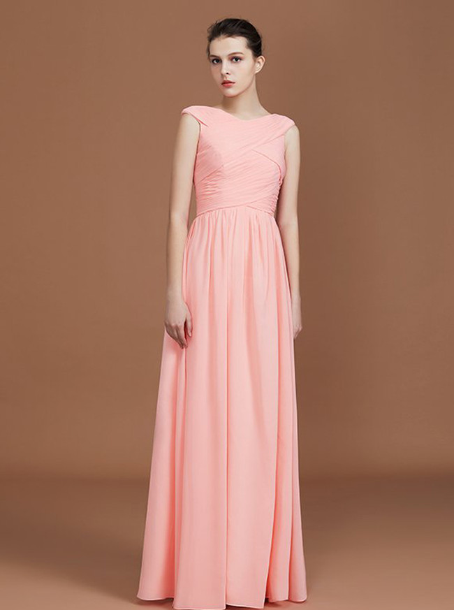 Peach Bridesmaid Dresses,Ruched Chiffon Bridesmaid Dress,11329