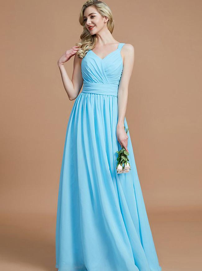 LightBlue Bridesmaid Dresses with Sash,Long Bridesmaid Dress Spring,11330