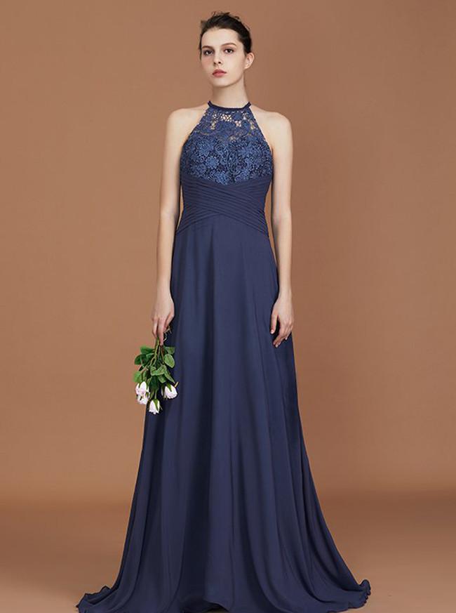 Dark Navy Bridesmaid Dresses,Long Bridesmaid Dress with Sash,11331