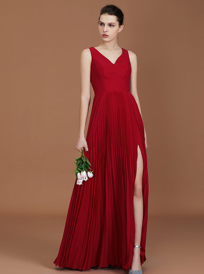 Red Bridesmaid Dresses,Bridesmaid Dress with Slit,11332