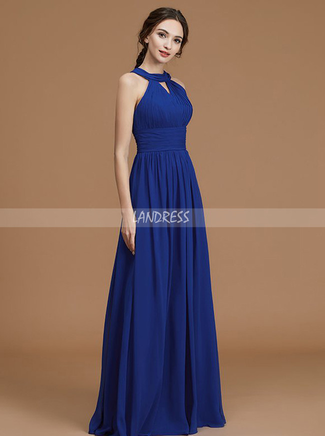 Royal Blue Long Bridesmaid Dresses,Spring Chiffon Bridesmaid Dress,11333