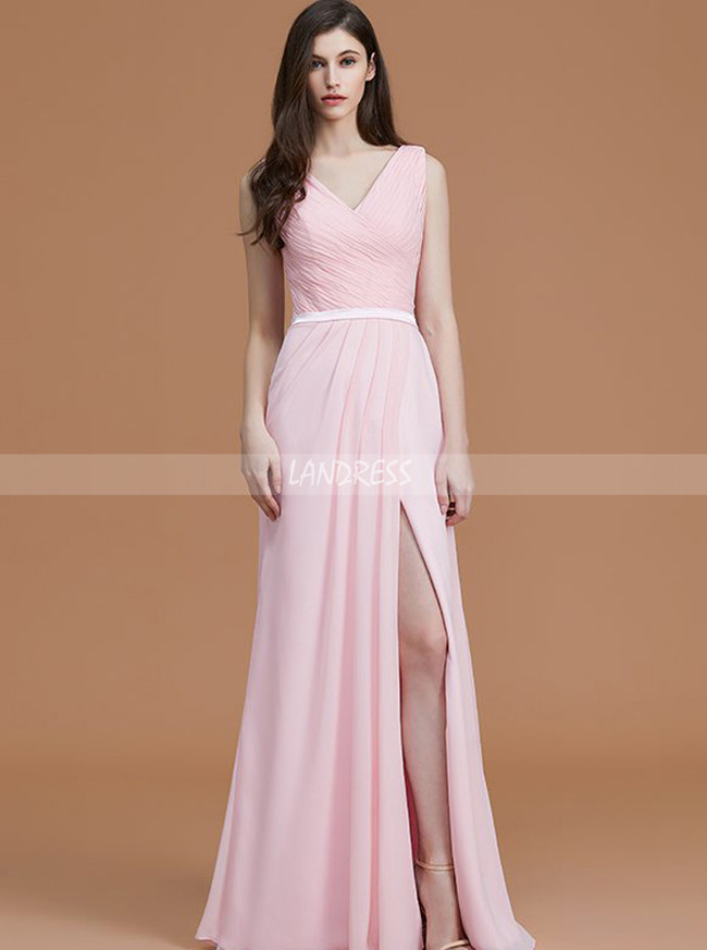 Pink Bridesmaid Dresses with Slit,Long Bridesmaid Dress,11334