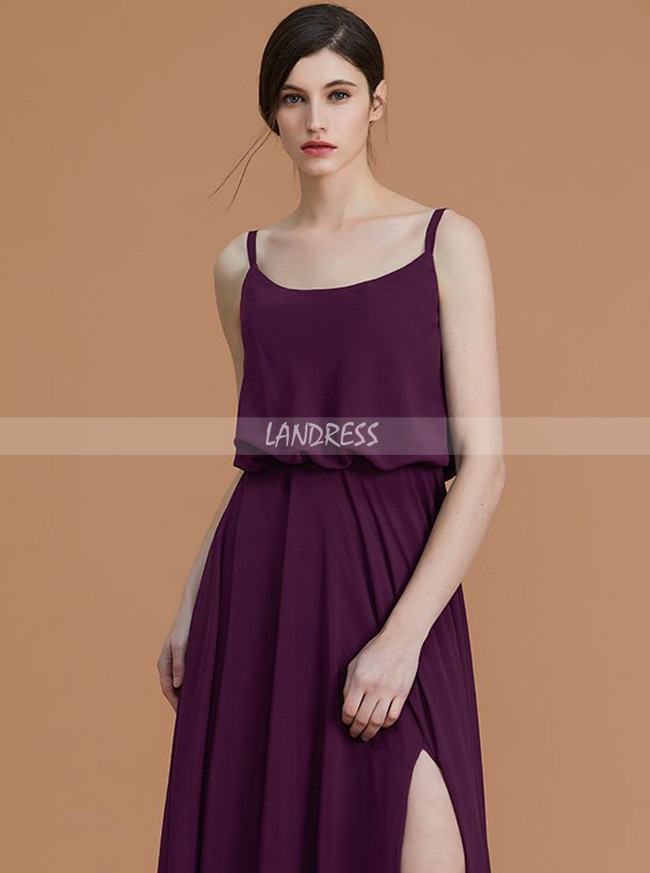 Grape Bridesmaid Dress with Slit,Chiffon Bridesmaid Dresses with Straps,11335