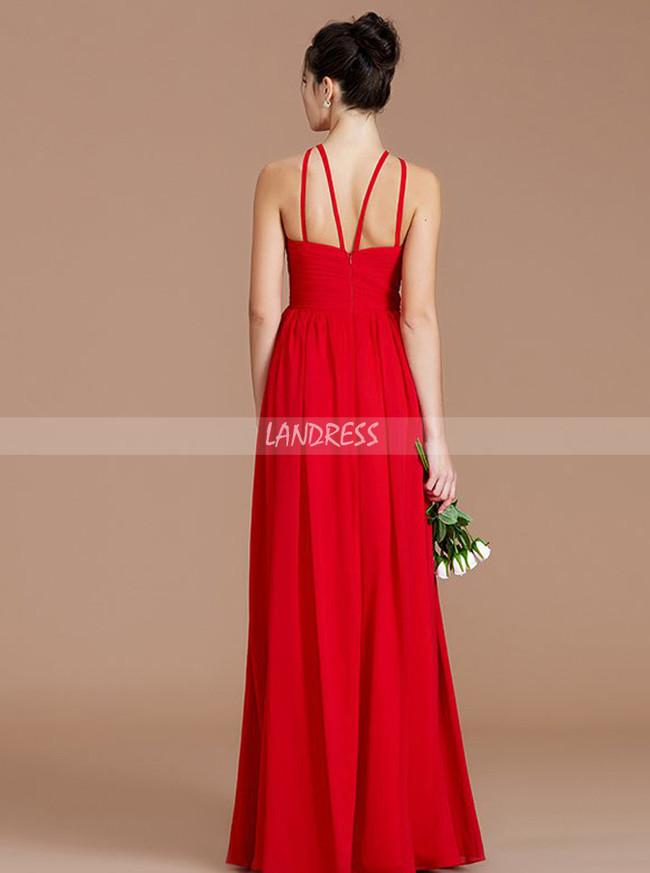 Red Chiffon Bridesmaid Dresses,Modest Long Bridesmaid Dress,11336