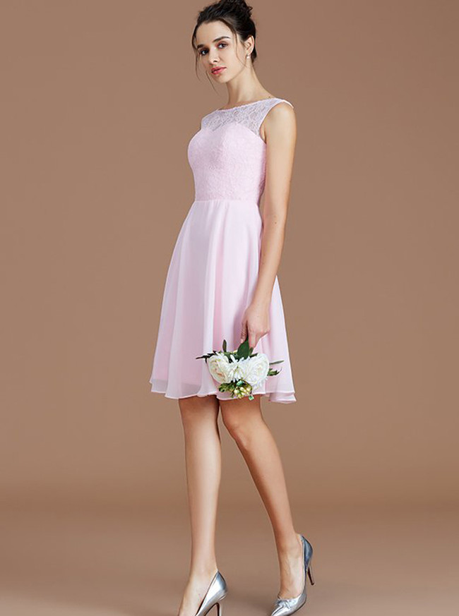BlushPink Short Bridesmaid Dresses,Knee Length Bridesmaid Dress,11338