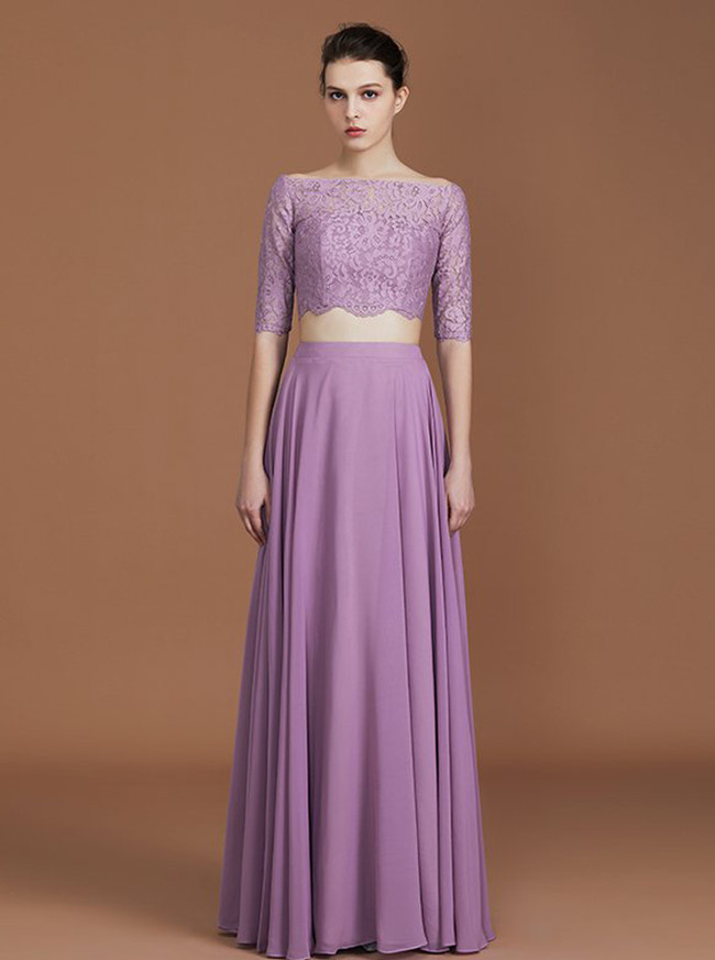 Lilac Two Piece Bridesmaid Dresses,Full Length Bridesmaid Dress,11339