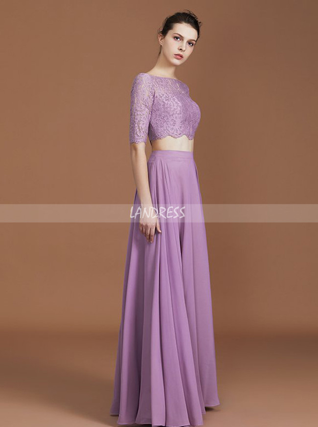 497eab5fb448 ... Lilac Two Piece Bridesmaid Dresses,Full Length Bridesmaid Dress,11339  ...