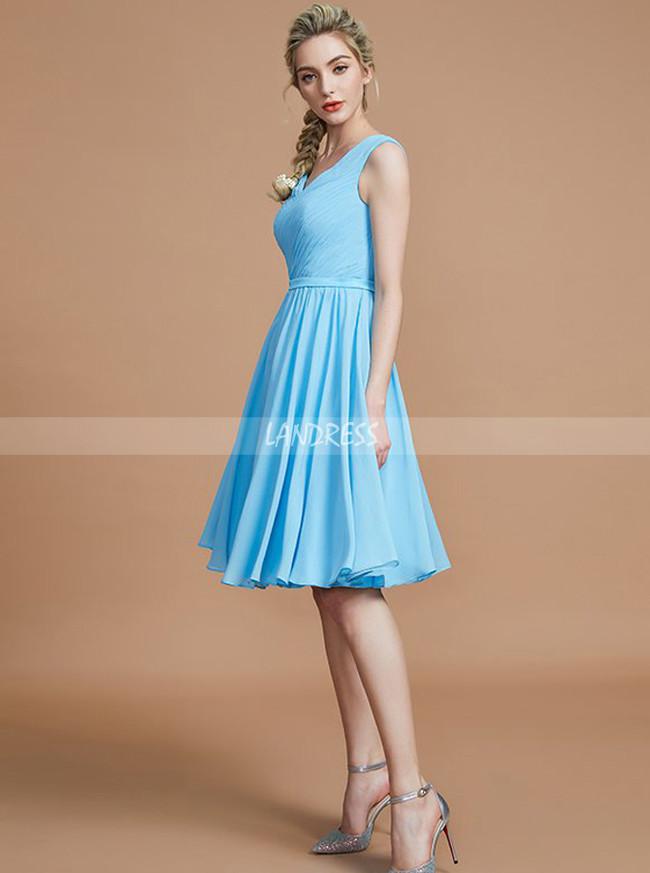 Light Blue Short Bridesmaid Dresses,Chiffon Knee Length Bridesmaid Dress,11340