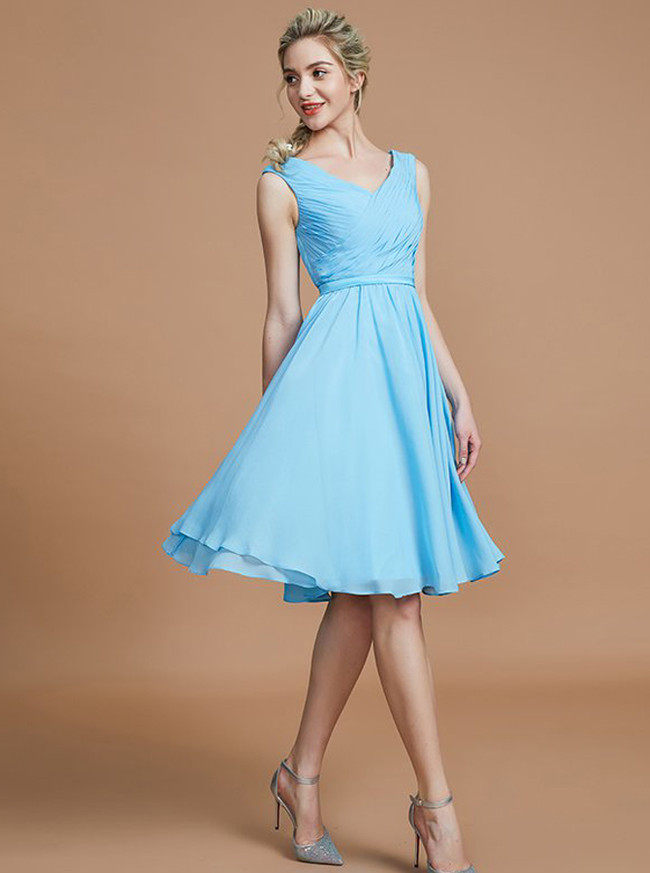 Light Blue Short Bridesmaid Dresses,Chiffon Knee Length Bridesmaid Dress,11340