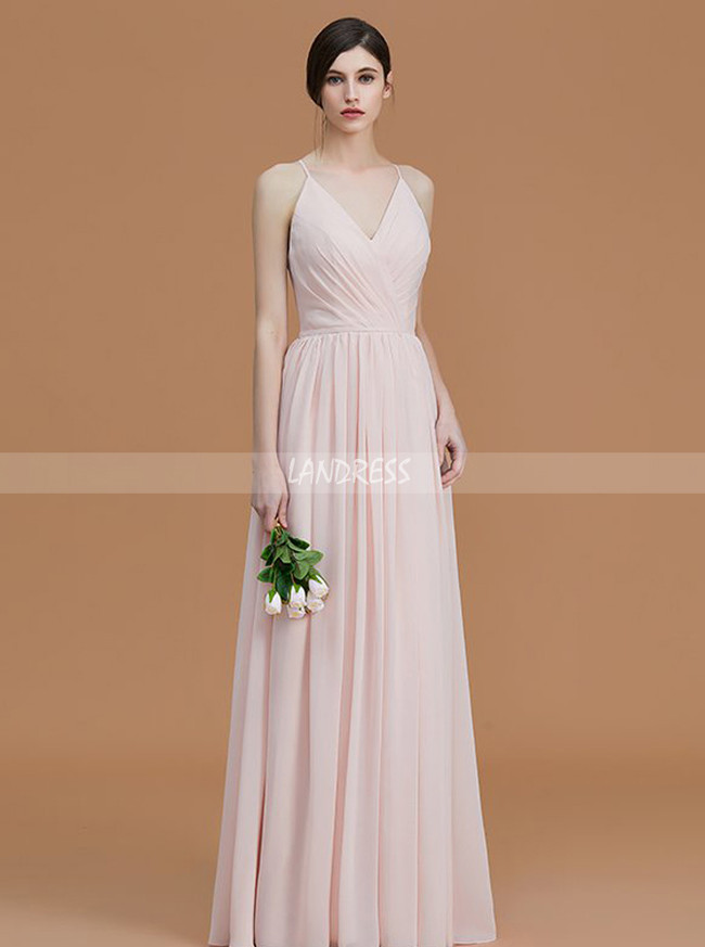 Spaghetti Straps Chiffon Long Bridesmaid Dresses,Simple V-neck Bridesmaid Dress,11341