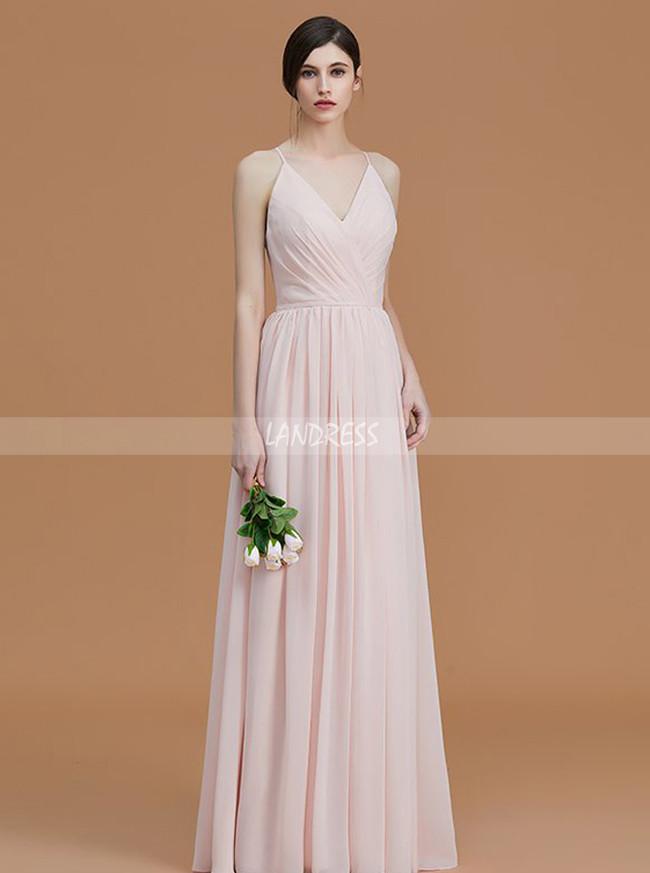 Spaghetti Straps Chiffon Long Bridesmaid Dresses,Simple V-neck Bridesmaid Dress,11341