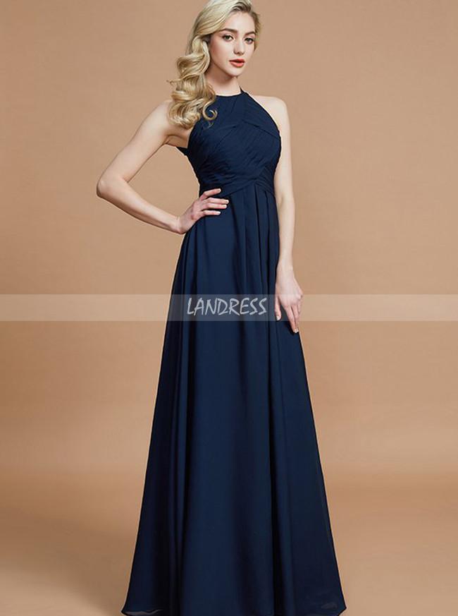 Dark Navy Bridesmaid Dresses,Elegant Long Bridesmaid Dress,11342