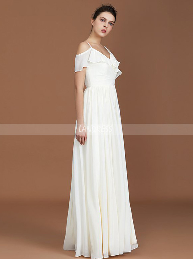 White Bridesmaid Dresses,Chiffon Long Bridesmaid Dresses with Straps,11344