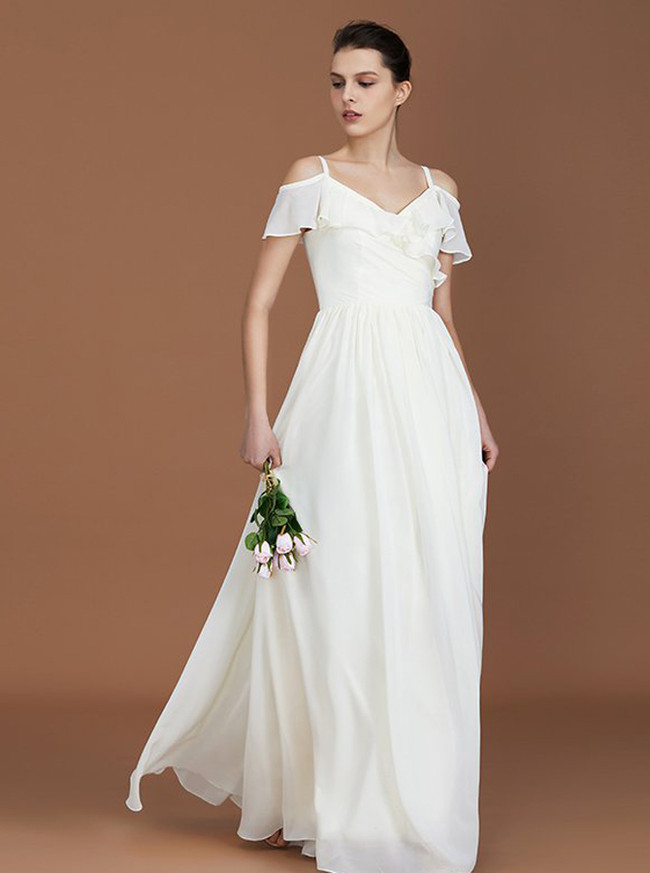 White Bridesmaid Dresses,Chiffon Long Bridesmaid Dresses with Straps,11344
