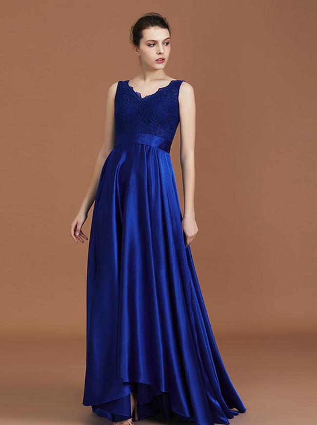 Royal Blue A-line Bridesmaid Dresses,Satin Asymmetrical Bridesmaid Dress,11345