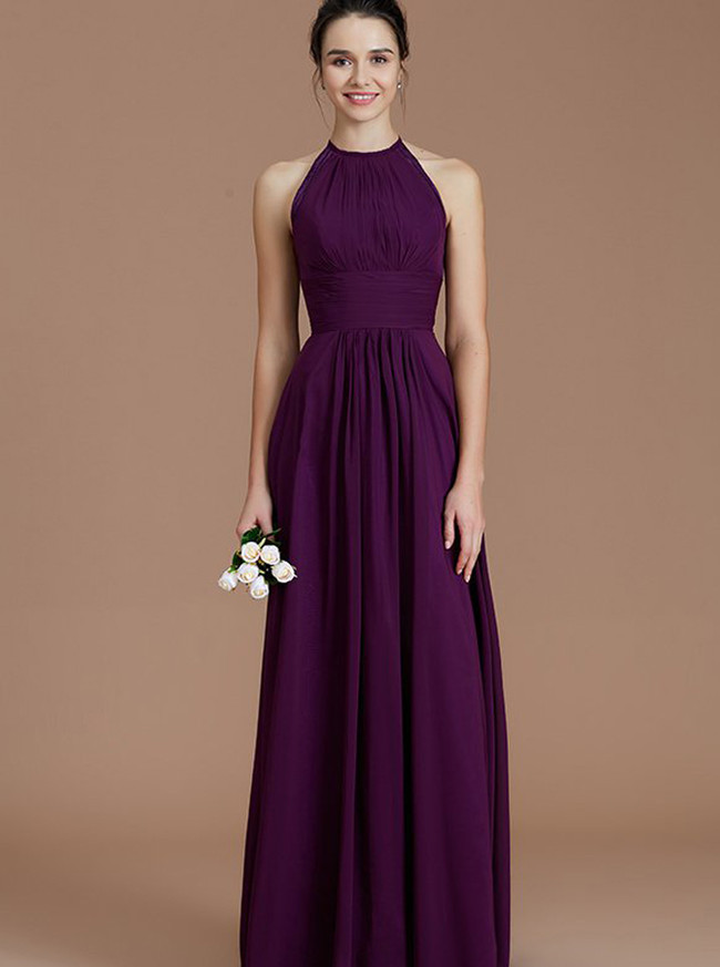 Grape Bridesmaid Dresses,Long Ruched Bridesmaid Dresses,11346